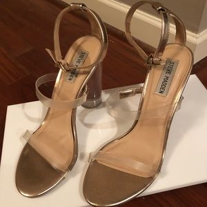 Steve Madden Clear Heels with Gold Ankle Strap